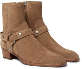 Saint Laurent Wyatt Suede Harness Boots