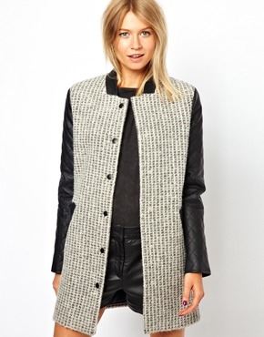 Asos Coat With Contrast Quilt Sleeve - Gray with black