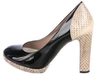 Chloé Patent Leather Snakeskin-Accented Pumps