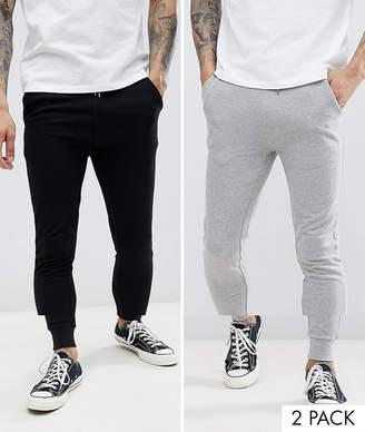 Asos Design DESIGN super skinny joggers 2 pack black/grey marl