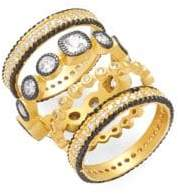 Freida Rothman Classic CZ & 14K Yellow Gold-Plated Sterling Silver Eternity Ring- Set of 5