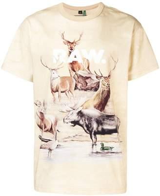 G Star Research deer print T-shirt