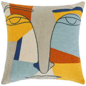 Abstract Face Embroidered Cushion 40 x 40cm, Multi