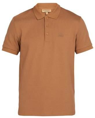 Burberry Logo Embroidered Cotton Pique Polo Shirt - Mens - Camel