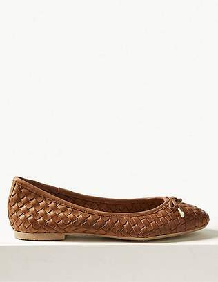 Marks and Spencer Leather Weave Ballet Pumps