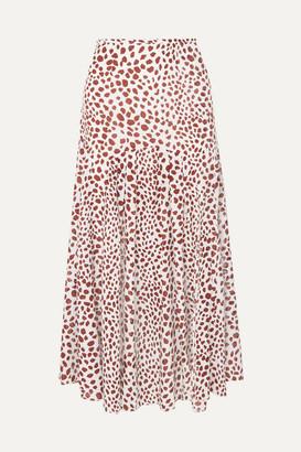 Rixo Claire Pleated Leopard-print Cotton-blend Midi Skirt