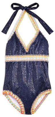 Pilyq Girls' Rainbow Crochet-Detail Swimsuit - Little Kid, Big Kid