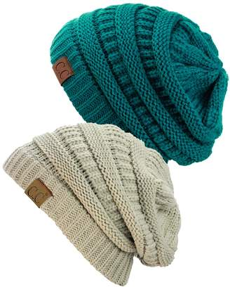 C&C Trendy Warm Chunky Soft Stretch Cable Knit Beanie Skully, 2 Pack