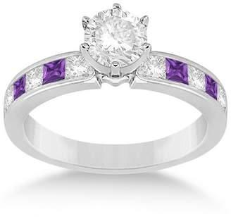 Allurez Fancy Palladium Princess Cut 0.6ct Channel Set Amethyst and Diamond Engagement Ring GH VS