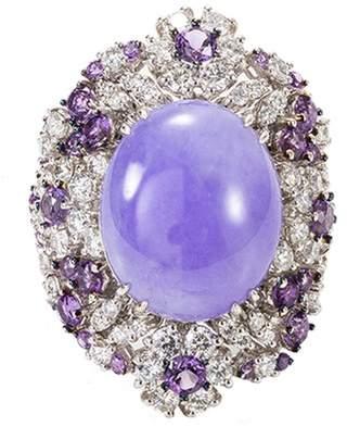 Roberto Coin Diamond jade 18k white gold ring