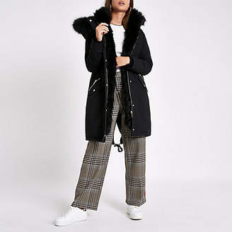 River Island Black faux fur trim longline parka