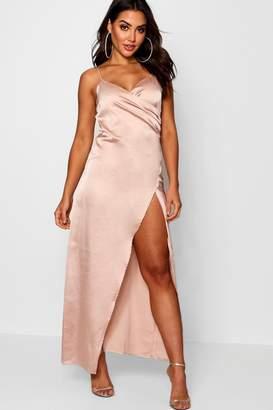boohoo Satin Wrap Detail Maxi Dress