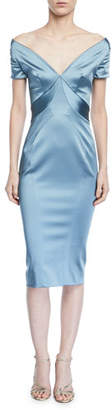 Zac Posen Short-Sleeve Off-the-Shoulder Sheath Dress