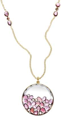 Moritz Glik Garnet Diamond Sapphire Circle Dome Necklace