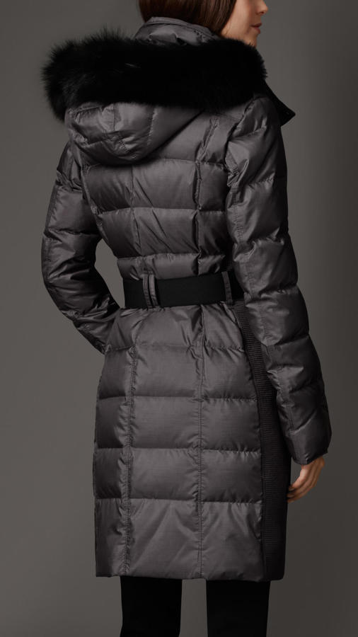Burberry Fur Trim Puffer Coat