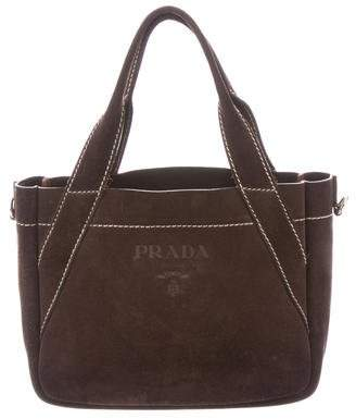 29d80df7b73c1c ... usa pre owned at therealreal prada suede logo mini tote f970f 40d2a