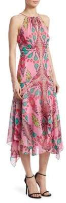 Nanette Lepore Silk Island-Print Midi Dress