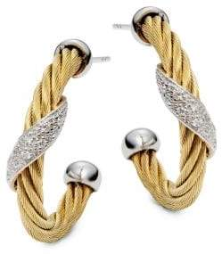 Alor Cable Pave Diamond Hoop Earrings