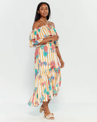 e2c94e108cce15 Flying Tomato Striped Floral Off-the-Shoulder Maxi Dress