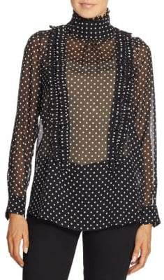N°21 Ruffled Polka Dot Silk Blouse