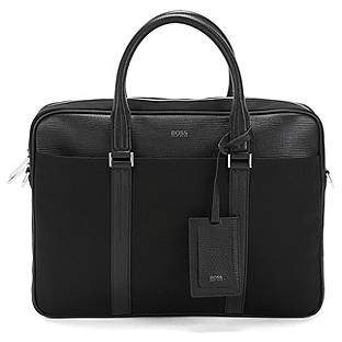 HUGO BOSS Document case in nylon and structured leather