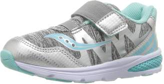 Saucony Kids Baby Ride Pro Girl's Running Shoes, Grey Heather/Turquoise