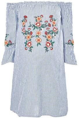 Dorothy Perkins Womens **Maternity Blue Striped Embroidered Tunic Top