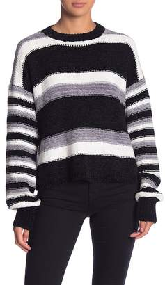 Woven Heart Chenille Striped Pullover Sweater