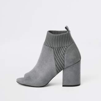 River Island Grey knitted block heel shoe boots