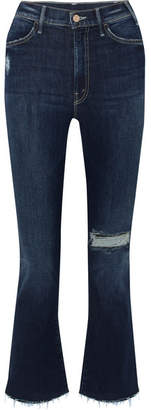 Mother The Hustler Distressed Cropped High-rise Flared Jeans - Dark denim