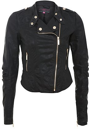 Black Gold Zip Biker Jacket