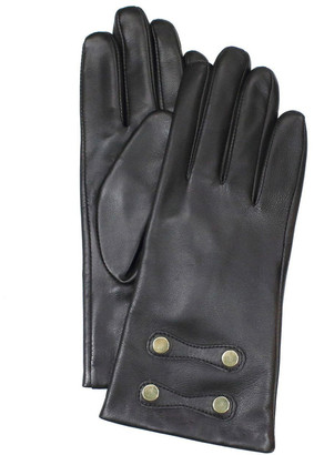 Dents Leather Gloves with Gold Stud Trim