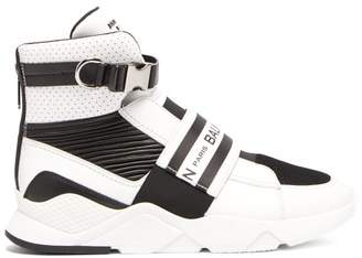 Balmain Logo Embellished Buckled High Top Leather Trainers - Mens - Black White