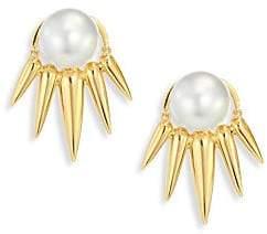 Nikos Koulis Women's Spectrum 16MM White Tahitian Pearl & 18K Yellow Gold Ear Jacket & Stud Earrings Set