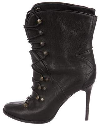 Burberry Lace-Up Leather Ankle Boots