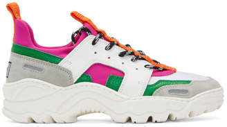 Ami Alexandre Mattiussi Pink and White Neoprene Lucky 9 Sneakers