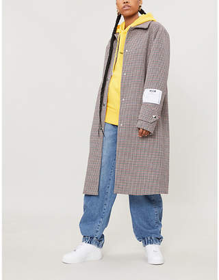 MSGM Houndstooth-checked tweed coat