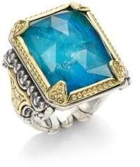 Konstantino Iliada Chrysocolla Doublet, Sterling Silver& 18K Yellow Gold Ring