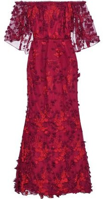 Marchesa Off-the-shoulder Embellished Tulle Gown
