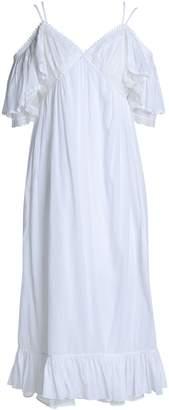 McQ Cold-shoulder Lace-trimmed Cotton Midi Dress