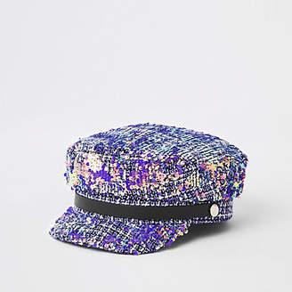 River Island Grey tweed sequin baker boy hat