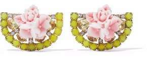 Elizabeth Cole 24-Karat Gold-Plated Swarovski Crystal And Acrylic Earrings