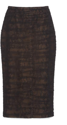 Rochas Ruched Chantilly Lace Pencil Skirt Size: 40
