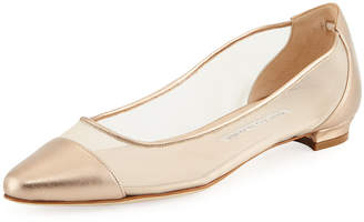 Manolo Blahnik Bral Mesh Cap-Toe Ballet Flats