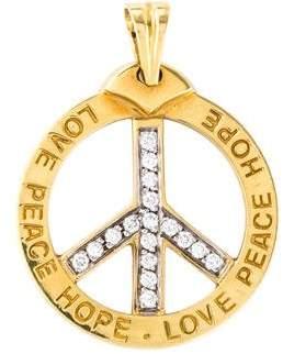 18K Diamond Peace Sign Pendant