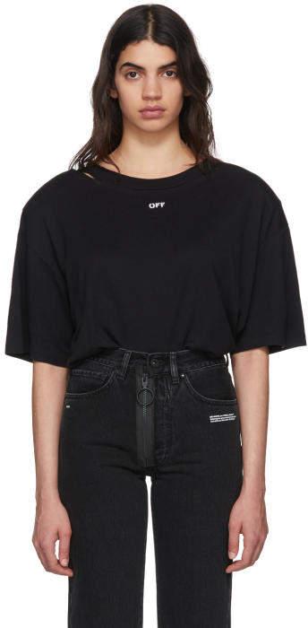 Off-White Black Off Shoulder Pad T-Shirt