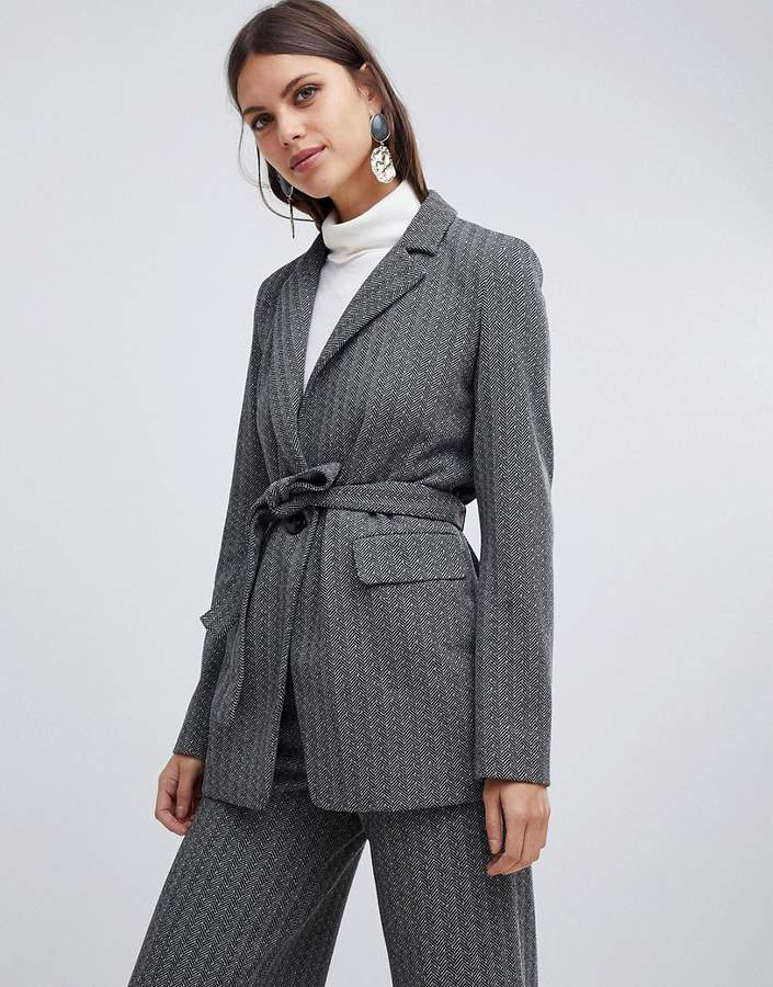 Emme Herringbone Jersey Wrap Jacket
