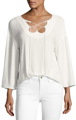 Frame Mirrored Lace-Up Blouse, Off White