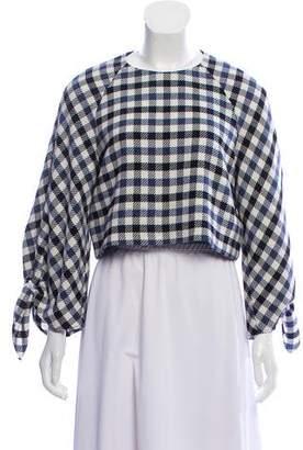 Tibi Checker Pattern Crop Top