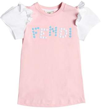 Fendi Ruffled Dots Logo Cotton Jersey T-Shirt